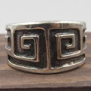 Size 9.75 Sterling Silver Heavy Maze Style Band